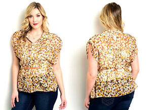25e63ecf2 JAJA&CO. Women's Sheer-Button-Down Shirt Floral Tab-Sleeve PLUS SIZE ...