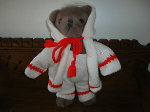 Vintage-Baby-Teddy-Bear-in-Knitted-Outfit-14-inch-Jointed-RARE