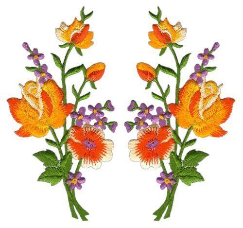 ad53 Blumen Set 2 Stück Orange Aufnäher Bügelbild Strauß Flicken DIY 5,5 x 11 cm