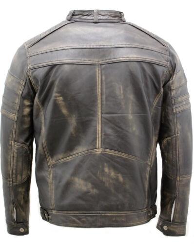 Men/'s Vintage Nero Rub Spento Giacca Da Motociclista in Pelle Racing
