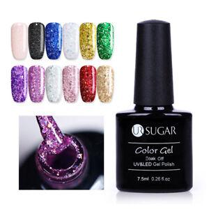 UR-SUGAR-7-5ml-Holographische-Nail-UV-Gellack-Glitzer-Pailletten-Soak-Off-Gel