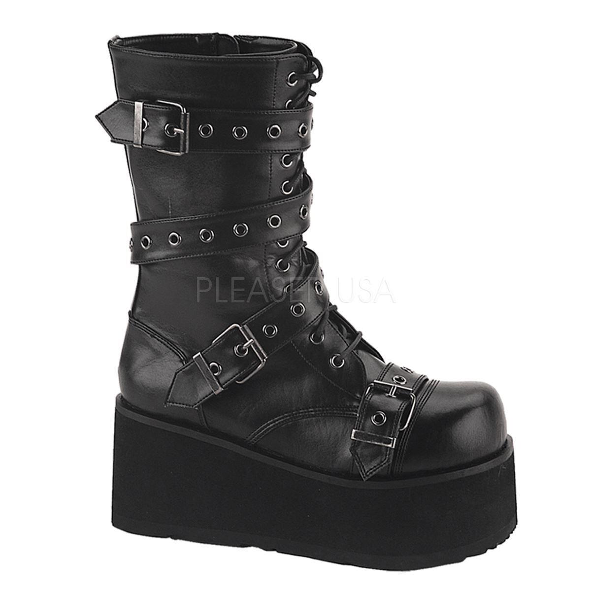 Demonia TRASHVILLE-205 Platform Wrap Goth Punk Calf Boot With Wrap Platform Around Strap schwarz d907cb