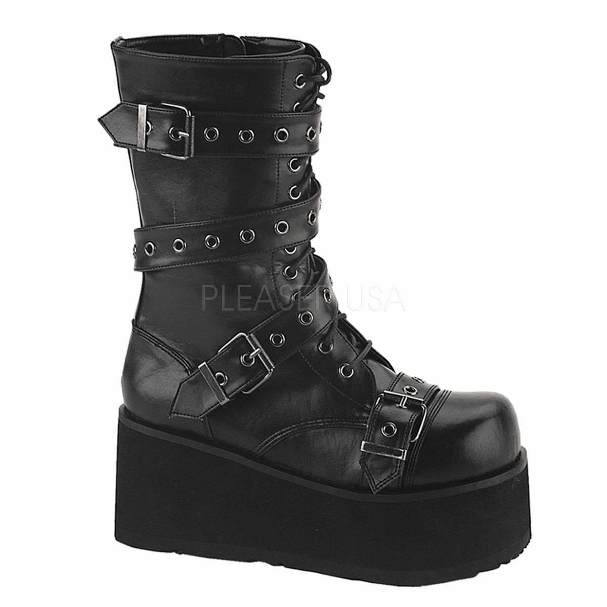 Demonia trashville-205 Platform goth Avvolgere punk VITELLO Boot Con Avvolgere goth Cinturino Nero