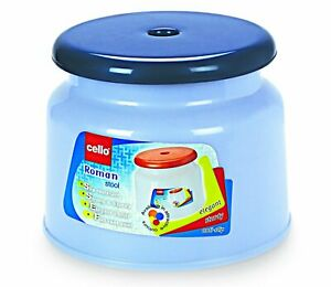 Plastic Round Stool, Small, Dark Blue and Light blue Pack of 1