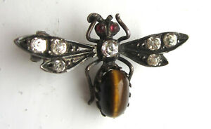 Antique-Victorian-Silver-Tigers-Eye-amp-Paste-Bug-Insect-Brooch