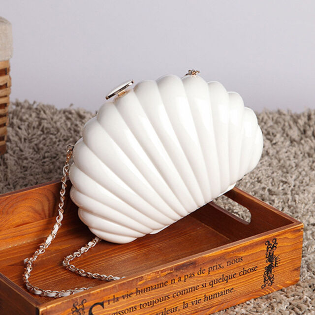 Women Shell Clam Messenger Bag Chain Box Shoulder Handbag Clutch Feast Waterproo