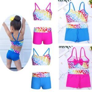 Girls Tankini Printed Swimsuit Swimwear Kids Bow Bikini Bathing