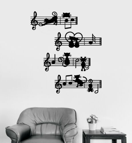 Wall Decal Musical Notes Kittens Melody Cats Music Vinyl Sticker ed1480