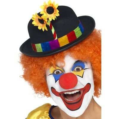 Blue Brand New Circus Clown Derby Hat with Flower