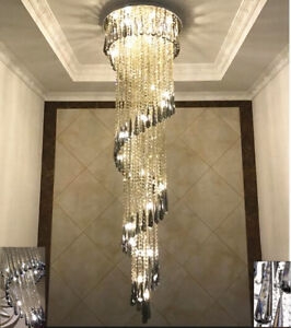 Image Is Loading LED Modern Crystal Stair Chandelier Living Room Lamp