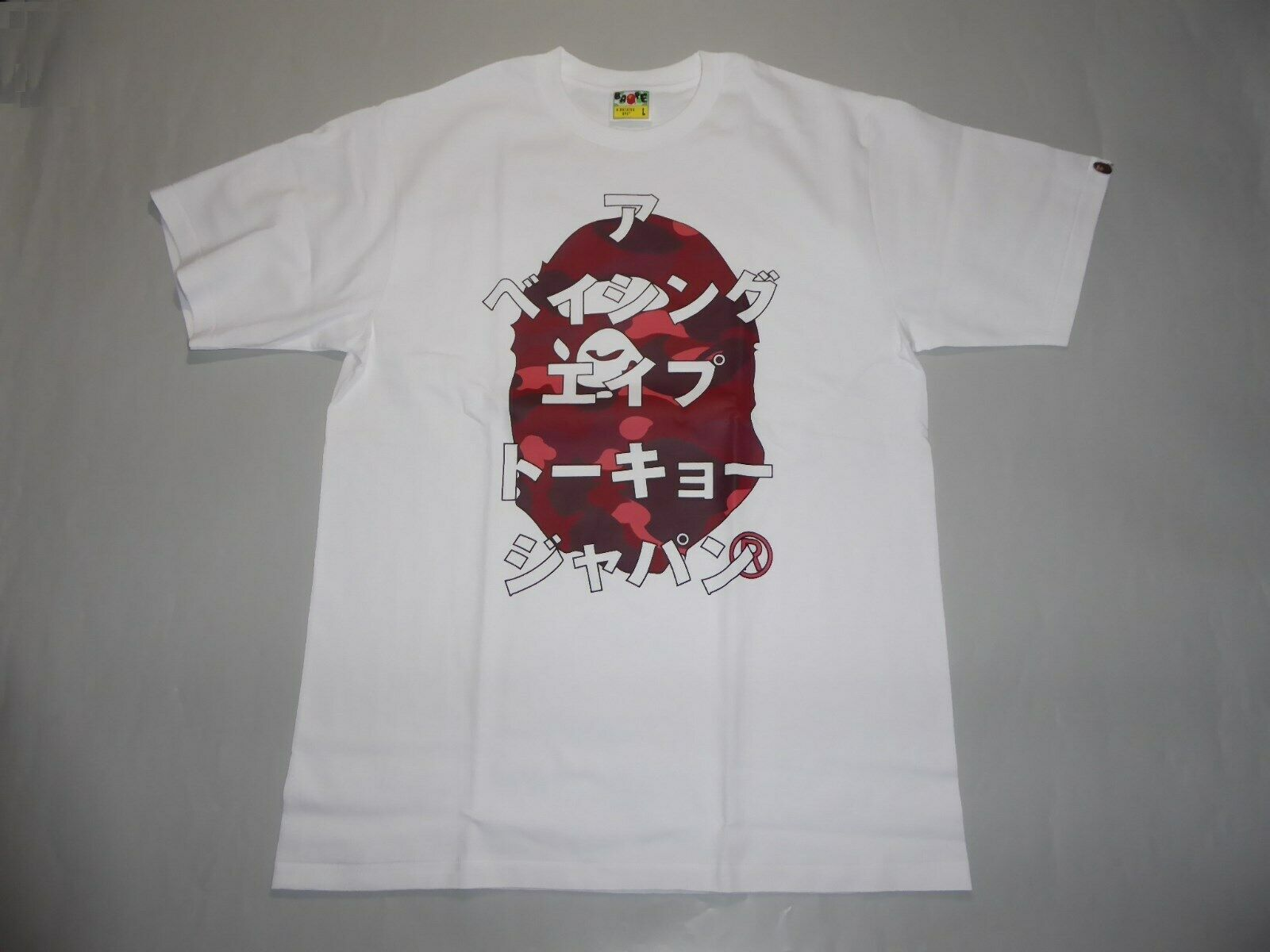 19887 bape color camo bape katakana white red tee L