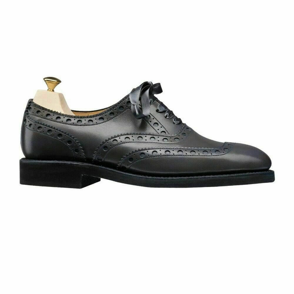Frauen handgefertigte Oxford Brogue Wingtip Leder Lace-Up Ribbon Schuh