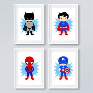Details about Superhero Prints Set Childrens Boys Bedroom Wall Art Nursery  Decor Pictures Blue