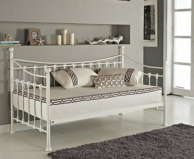 Versailles French Day Bed and Trundle Black White Metal Frame with Foam Mattress