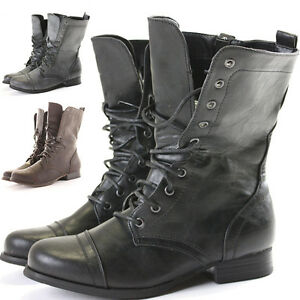 Womens-Combat-Style-Army-Worker-Military-Ankle-Boots-Flat-Punk-Goth-Shoes-Size
