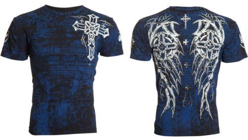 ARCHAIC by AFFLICTION Mens T-Shirt SPIKE WINGS Tattoo BLACK BLUE Biker UFC $40