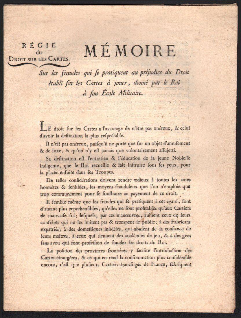 Document. Regie du Droit sur les cartes. Mémoire sur les fraudes. 1772.