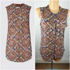 NEW-Ex-M-amp-S-Sleeveless-Shirt-Top-Size-10-20-Abstract-Print