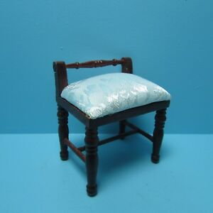 Dollhouse Miniature Bedroom Vanity Stool / Side Chair with Cream ...