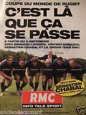 PUBLICITÉ 2011 RMC EXCLU RADIO SÉBASTIEN CHABAL RUGBY - ADVERTISING