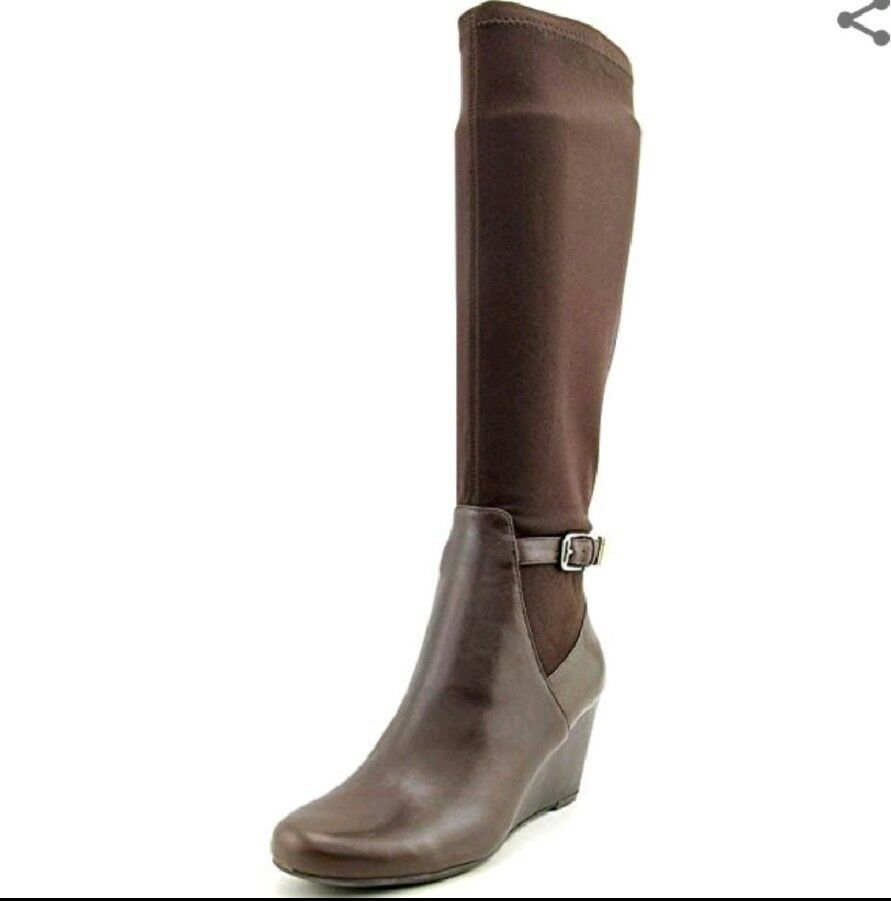 Isaac Mizrahi Womens Leather Trim Knee-High Dress Wedge Boots Brown Brown Brown 7.5 fe1f94