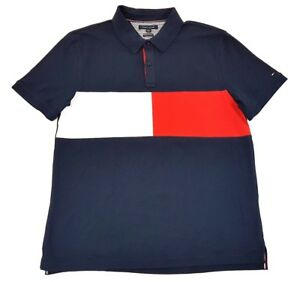 Tommy-Hilfiger-Flag-Logo-Mens-Polo-Navy-Short-Sleeve-Shirt-Vintage-Style