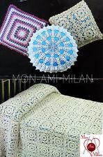Vintage Crochet Pattern PRETTY FLORAL MOTIF BEDSPREAD THROW CUSHION COVERS Copy