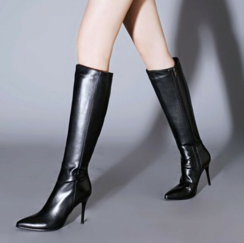 Classic Women's High Heel Stilettos High Heel Knee High Boots Leather Size 34-43 Black