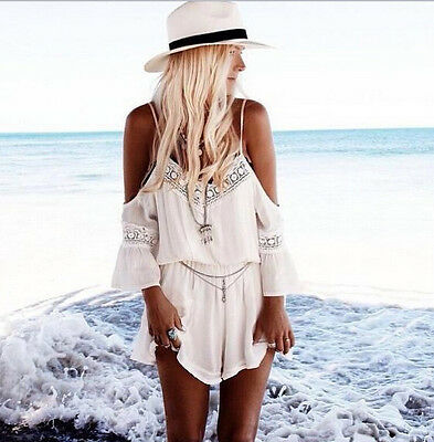 2015 Women Lace White Bohemian Beach Dress Spaghetti Strap Boho jumpsuit AU 6-14