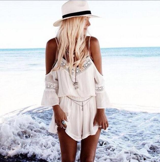 2015 Women Lace White Bohemian Beach Dress Spaghetti Strap Boho jumpsuit AU 6-14