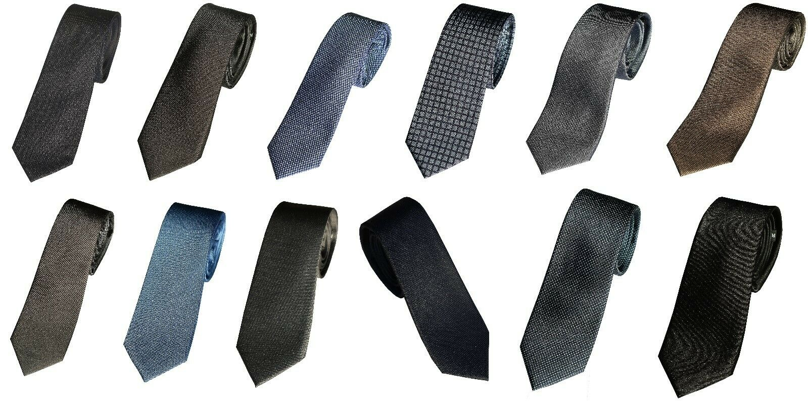 Royal Class Seidenkrawatte Krawatte Schlips Binder Blau Grau Schwarz Breite 6,5
