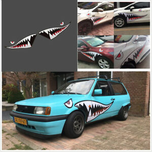 Details About 2x59full Size Flying Tiger Shark Mouth Teeth Car Suv Bumper Sticker Door Decal
