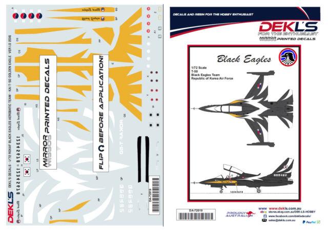 Decals T-50 Golden Eagle ROKAF - Black Eagles Aerobatic Team Decals 1/72 Scale