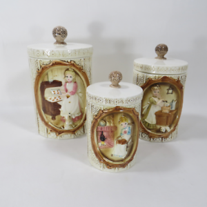 3-Vintage-1978-Sears-Roebuck-Mother-in-the-Kitchen-Ceramic-Canisters-w-Lids