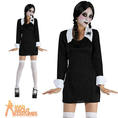 Wednesday Costume Child Creepy School Girl Addams Halloween Fancy Dress Outfit