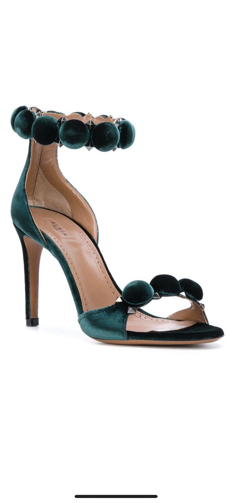 Alaia Alaia Alaia Bombe Studded Velvet Open Toe Sandals 37 a94137