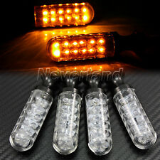 4pcs Motorcycle Black Metal 12 LED Turn Signals Blinker Indicators Amber Light