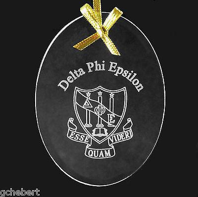 Delta Phi Epsilon, ΔΦΕ, Ornament/Sun Catcher Crest Beveled Crystal
