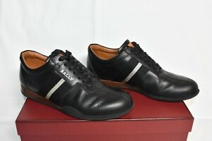 Black Calf Leather Plain Sneakers Size