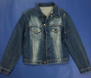 size 40 7ca17 bf19a Dettagli su Jeans giacca donna usato jacket giacchetta size S giubbotto blu  vintage T466