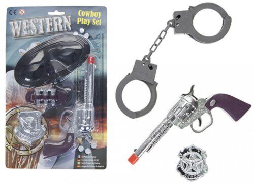 Toy Plastic Gun Set Fancy Dress Cowboy Ranger Bandit Sheriff Wild West Badge
