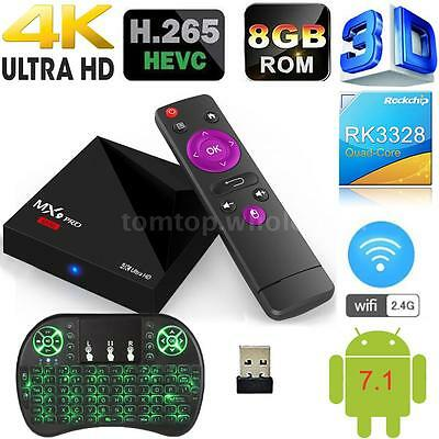 MX9 Pro Android 7.1 Smart TV Box RK3328 4K Quad Core 8GB WiFi Media Player G3V5