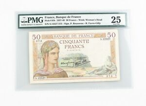1937-1940 French Fifty Francs VF-25 PMG Banque de France 50F Very Fine P#85b