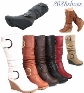 Women-039-s-Cute-Round-Toe-Slouch-Buckle-Wedge-Mid-Calf-Boot-Shoes-Size-5-11-NEW