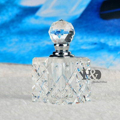 Clear Vintage Empty Refillable Glass Crystal Perfume Bottle Stopper Lady Gift