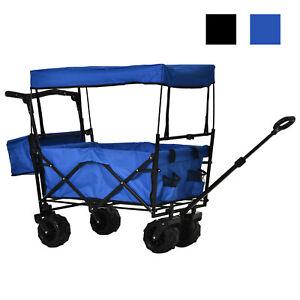 DURHAND Chariot de Transport Remorque de Plage Jardin Pliable Max. 100 Kg Noir