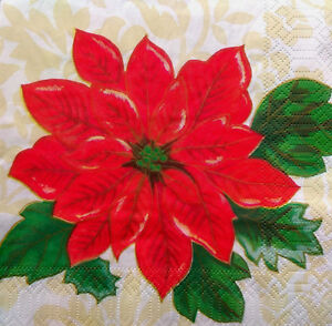 Image is loading 1X-Paper-Design-Napkins-Decoupage-Craft-Tissue-Poinsettia-