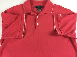 Nike-Golf-Polo-Shirt-Mens-SZ-M-L-Off-Red-Casual-Early-Dri-Fit-Ribbed-3-Button