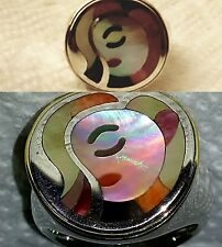 ERIC GROSSBARDT PICCASO FACE 18K GOLD & STERLING SILVER WOMENS RING SIZE 5 1/2