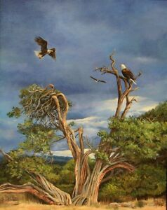 Alice-Hurlbert-034-Feathered-Rendevous-Eagles-Wildlife-art-Original-Oil-painting